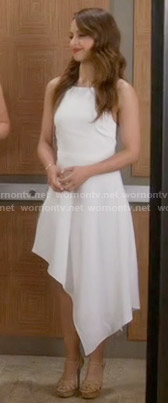 Sofia's white asymmetric dress on Young and Hungry
