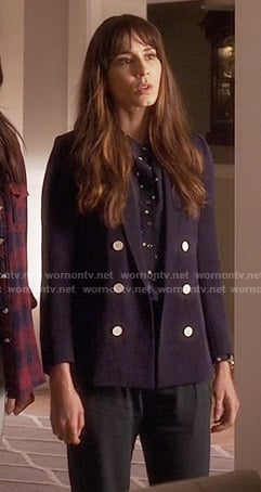 Spencer's polka dot shirt, green trousers and double breasted blazer on Pretty Little Liars