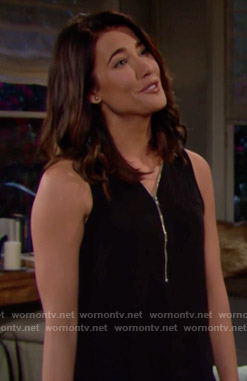 Steffy's black zip front top on The Bold and the Beautiful
