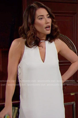 Steffy's white dress with lace-up sides on The Bold and the Beautiful