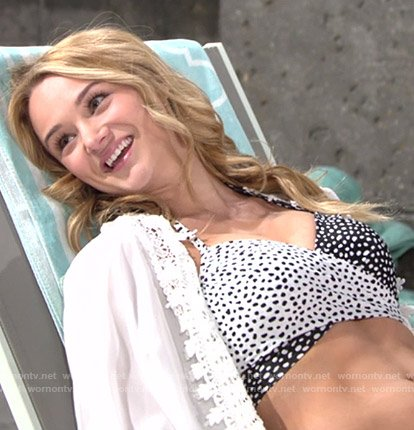 Summer's black and white printed bikini on The Young and the Restless