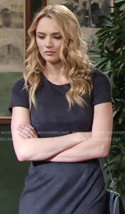 Summer's navy suede dress on The Young and the Restless