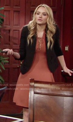 Summer's orange lace-up dress on The Young and the Restless