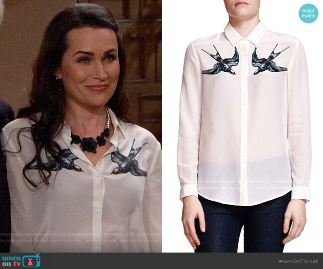 The Kooples Swallow Print Silk Shirt worn by Quinn Fuller (Rena Sofer) on The Bold & the Beautiful