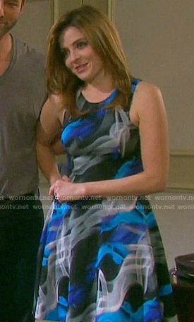 Theresa's black and blue smoke print dress on Days of our Lives