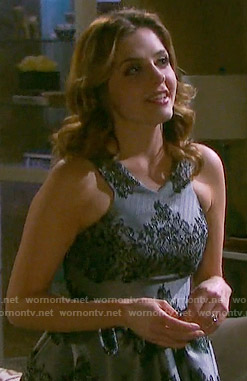 Theresa's grey and black lace dress on Days of our Lives