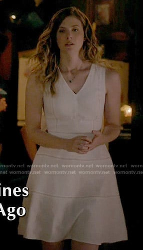 Valerie's white v-neck dress on The Vampire Diaries