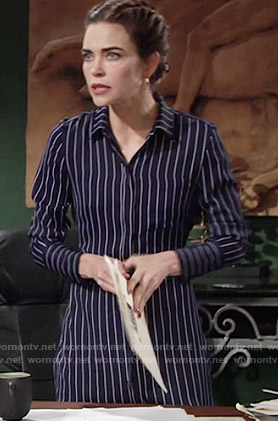 Victoria's navy blue striped shirtdress on The Young and the Restless