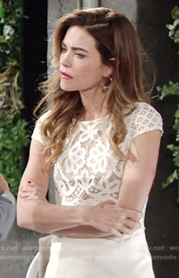 Victoria's white lace top on The Young and the Restless