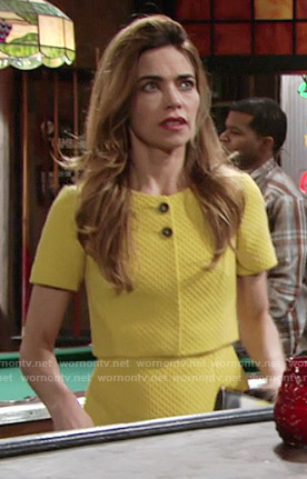 Victoria's yellow layered dress on The Young and the Restless