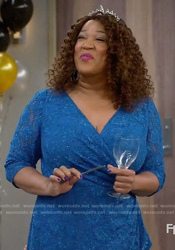 Yolanda's blue lace dress on Young and Hungry