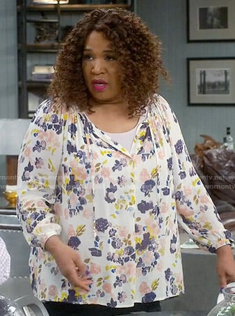 Yolanda's floral blouse on Young and Hungry