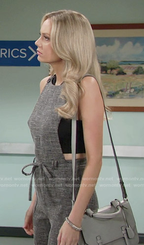 Abby's grey jumpsuit on The Young and the Restless