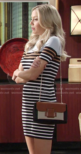 Abby's striped dress and colorblock bag on The Young and the Restless