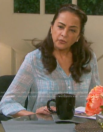 Adriana's blue plaid blouse on Days of our Lives
