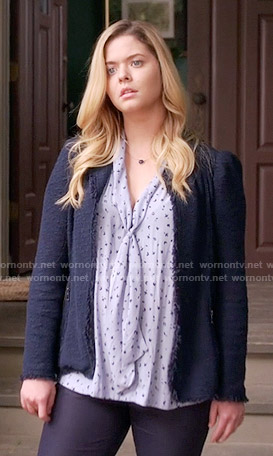 Ali's blue printed tie neck blouse and tweed jacket on Pretty Little Liars