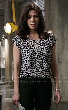 Angela's black and white butterfly print top on Bones