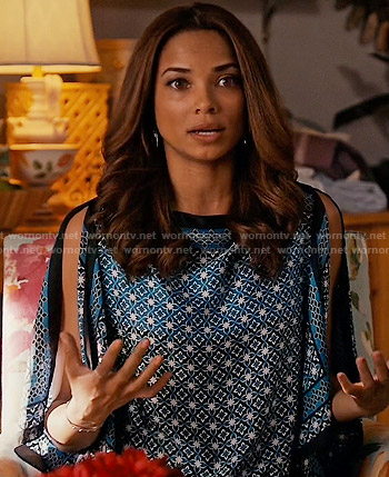 April's blue printed blouse on Mistresses