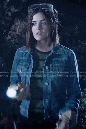Aria's green striped top and denim jacket on Pretty Little Liars