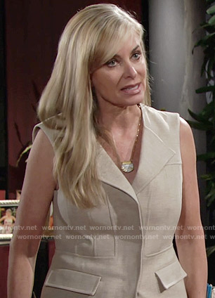 Ashley's beige vest on The Young and the Restless