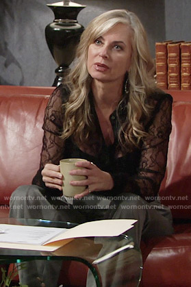 Ashley's black lace shirt on The Young and Restless