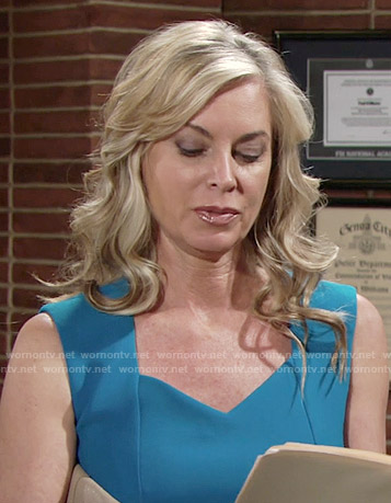 Ashley's blue sweetheart neck dress on The Young and the Restless