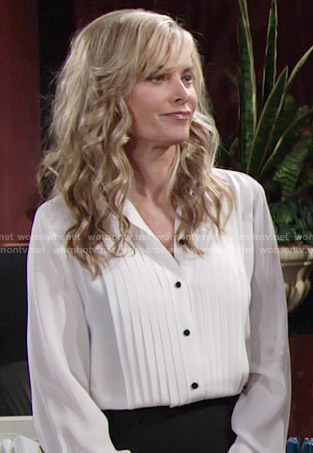 Ashley's white pleated blouse with black buttons on The Young and the Restless