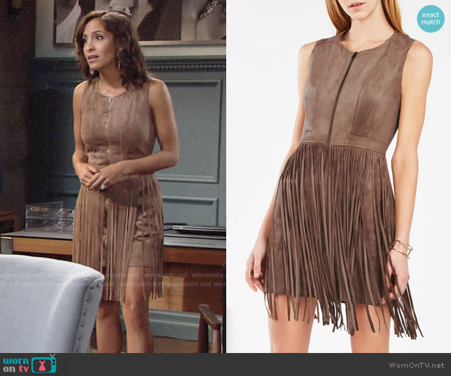 Bcbgmaxazria Hamiin Suede Fringe Dress worn by Lily Winters (Christel Khalil) on The Young & the Restless