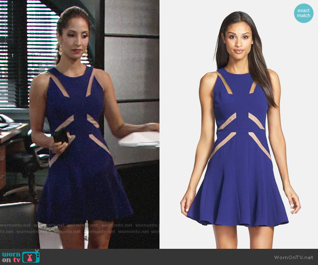 Bcbgmaxazria Mesh Cutout Skater Dress worn by Lily Winters (Christel Khalil) on The Young & the Restless