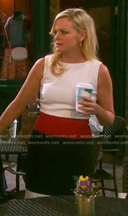 Belle's red, white, and black colorblock dress on Days of our Lives