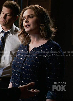 Brennan's navy bird print top on Bones