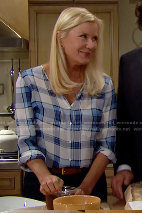 Brooke's blue plaid blouse on The Bold and the Beautiful
