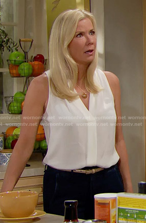 Brooke's white sleeveless v-neck top on The Bold and the Beautiful