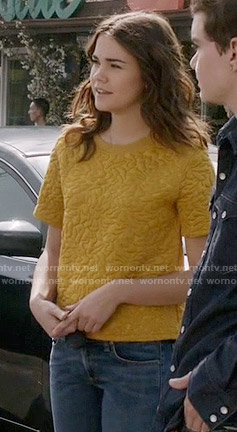 Callie's yellow textured top on The Fosters