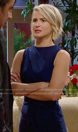 Caroline's blue dress on The Bold and the Beautiful