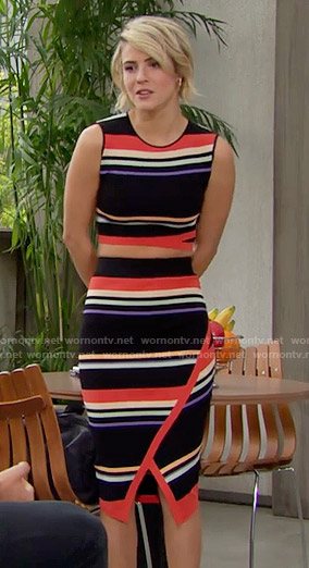 Caroline's multi colored striped crop top and skirt on The Bold and the Beautiful