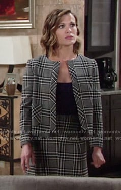 Chelsea's matching checked jacket and skirt on The Young and the Restless