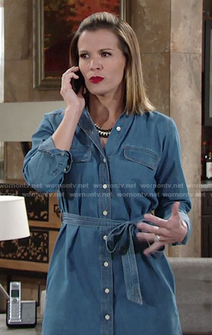 Chelsea's denim shirtdress on The Young and the Restless