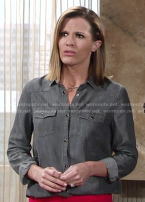 Chelsea's grey button down shirt on The Young and the Restless