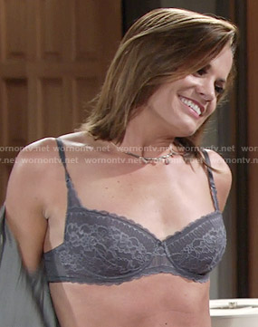 Chelsea's grey lace bra on The Young and the Restless