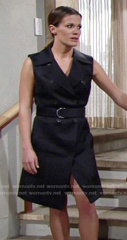 Chelsea's navy sleeveless trench on The Young and the Restless