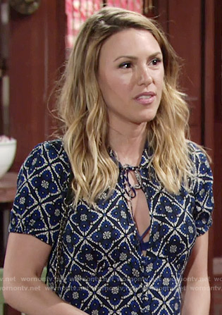 Chloe's blue tile print dress on The Young and the Restless