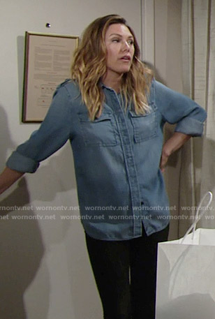 Chloe's chambray shirt on The Young and the Restless