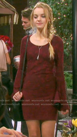 Claire's burgundy bell sleeve dress on Days of our Lives
