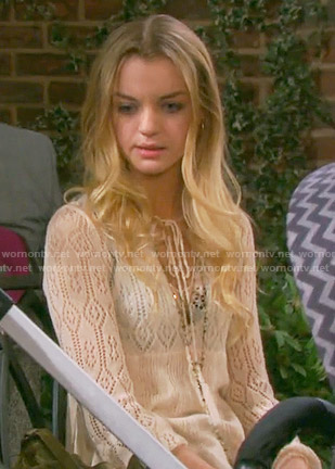 Claire's cream pointelle knit top on Days of our Lives