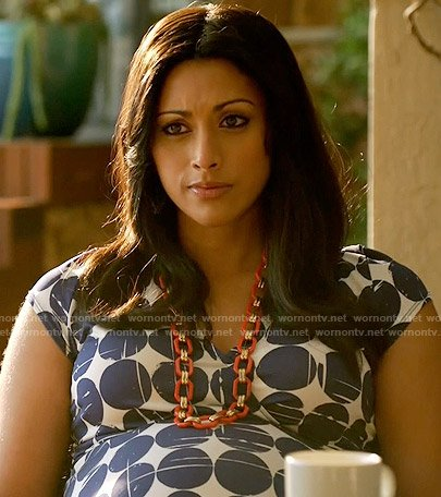 Divya's navy polka dot maternity dress on Royal Pains