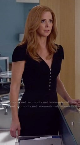 Donna's black clasp front dress on Suits