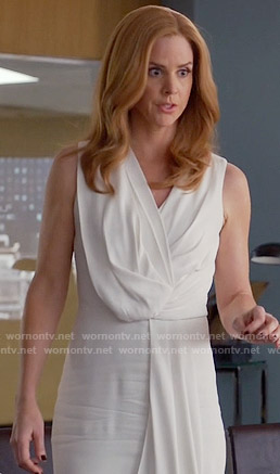 Donna's white draped dress on Suits