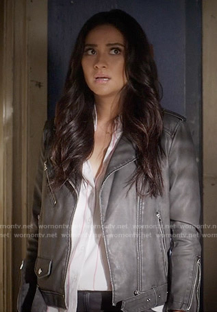 Emily's biker jacket on Pretty Little Liars