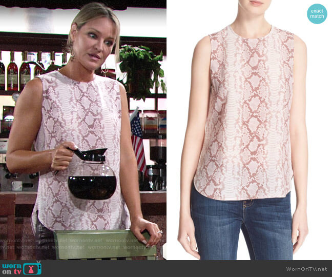 Equipment Lyle Top in Picasso worn by Sharon Collins (Sharon Case) on The Young & the Restless